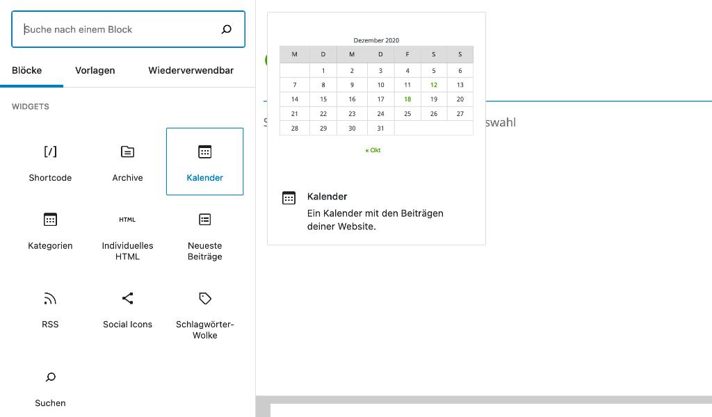 GutenbergSpezialelemente Kalender 1